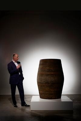 Stephen Rankin Director of Prestige Gordon MacPhail with cask 340 Generations 80YO from Glenlivet Distillery